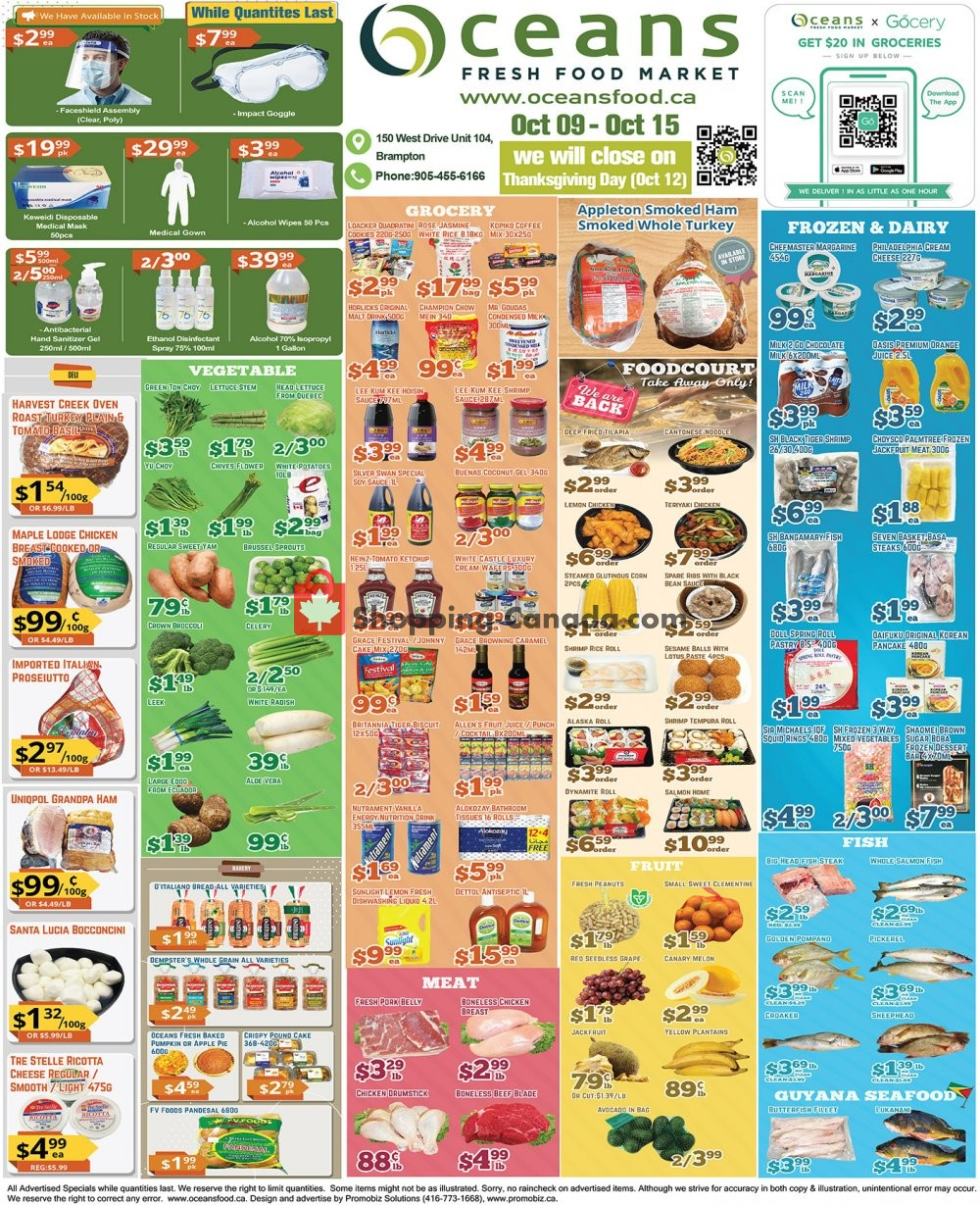 Flyer Oceans Fresh Food Market Canada - from Friday October 9, 2020 to Thursday October 15, 2020