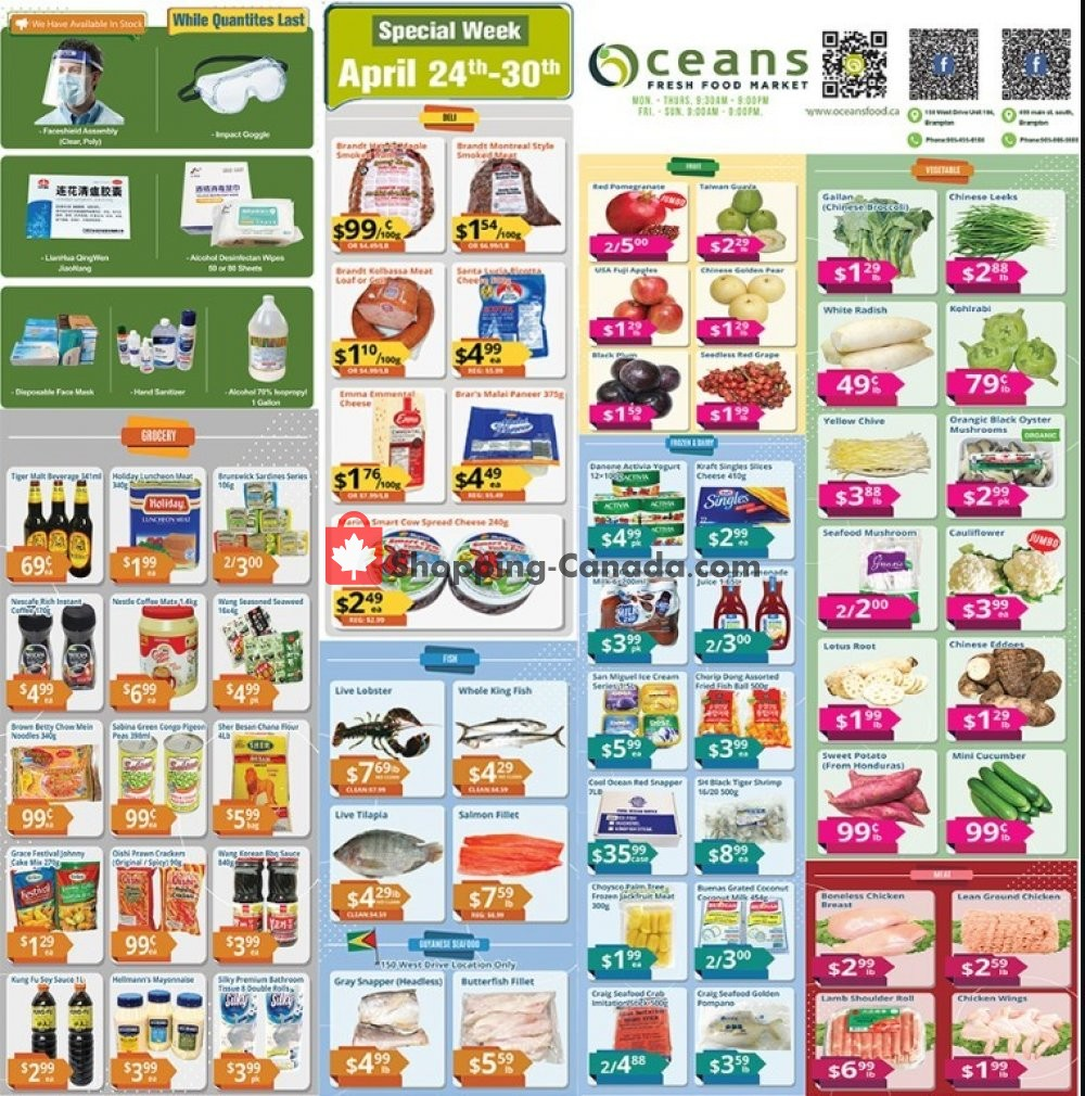 Flyer Oceans Fresh Food Market Canada - from Friday April 24, 2020 to Thursday April 30, 2020