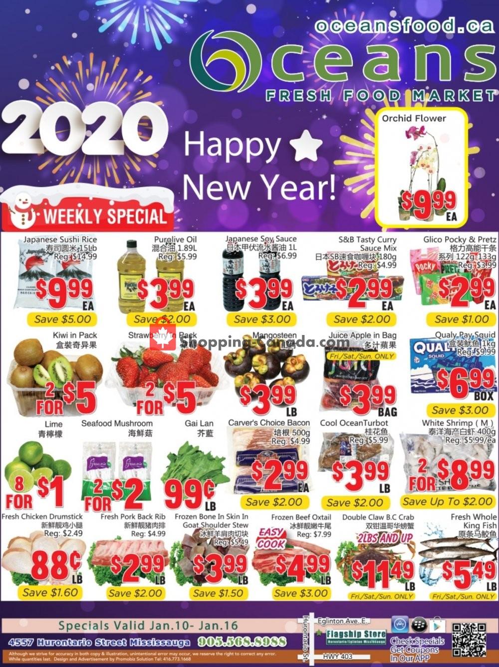 Flyer Oceans Fresh Food Market Canada - from Friday January 10, 2020 to Thursday January 16, 2020