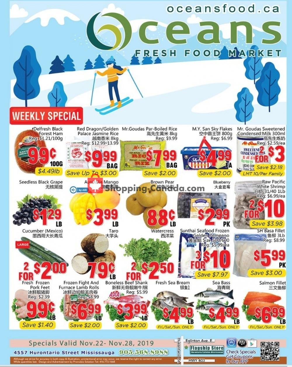 Flyer Oceans Fresh Food Market Canada - from Friday November 22, 2019 to Thursday November 28, 2019