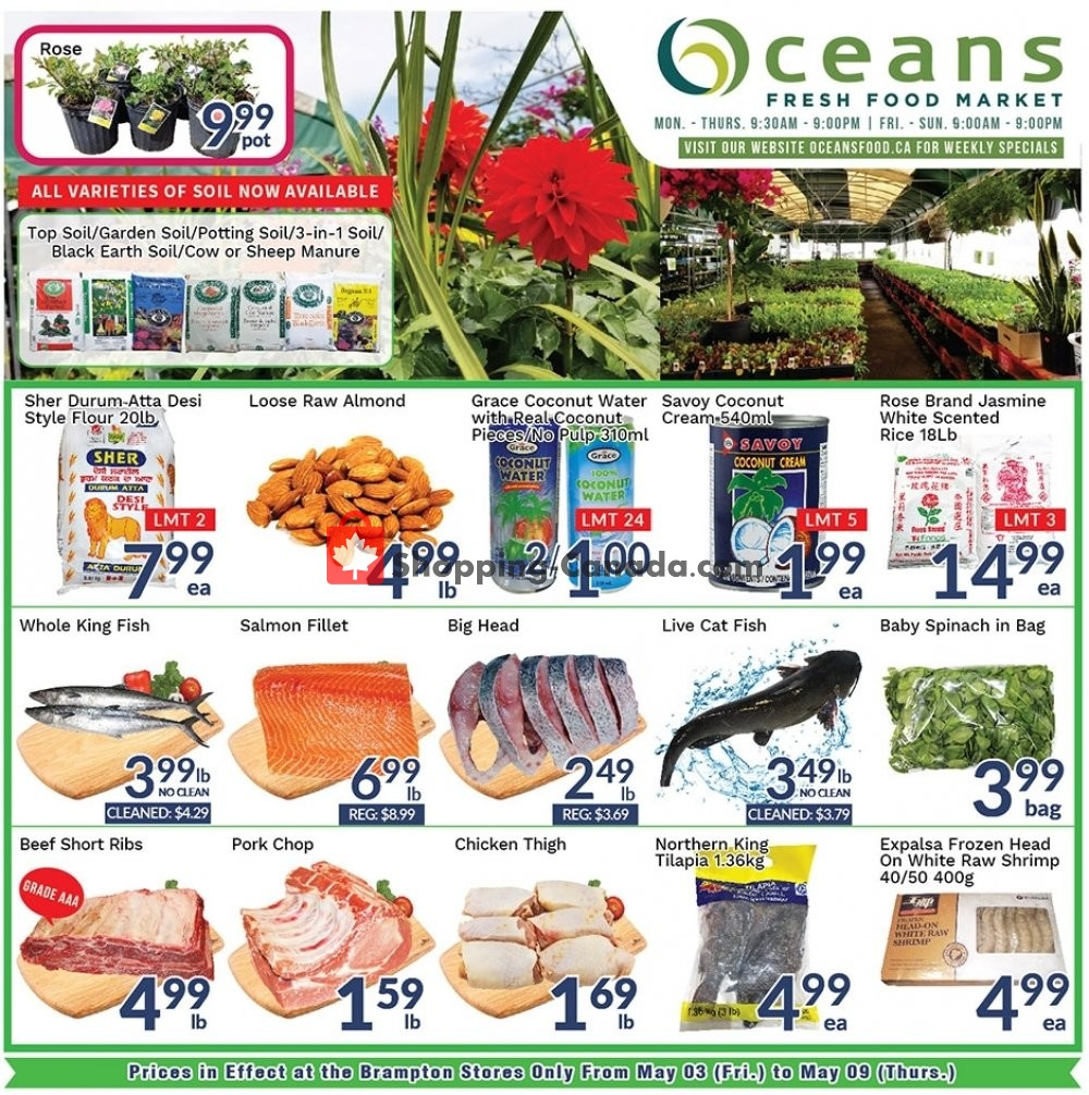 Flyer Oceans Fresh Food Market Canada - from Friday May 3, 2019 to Thursday May 9, 2019