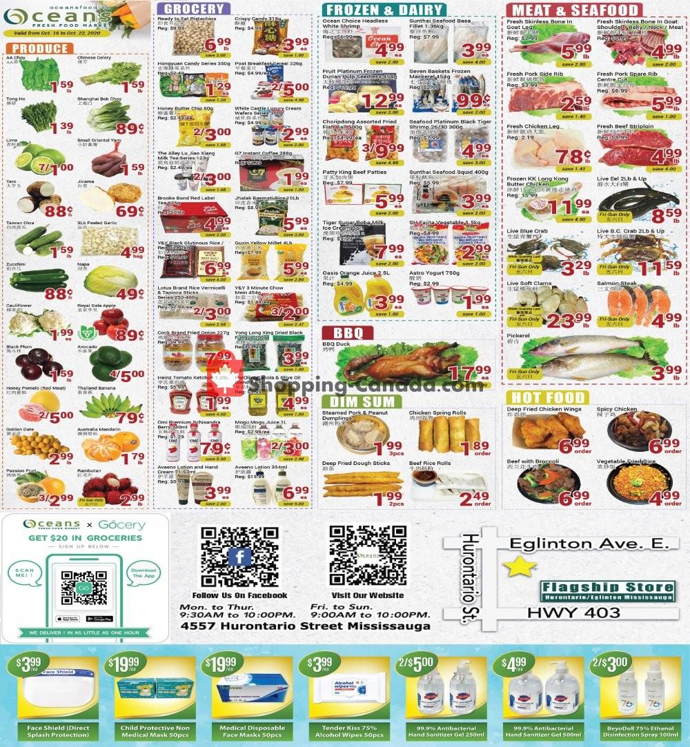 Flyer Oceans Fresh Food Market Canada - from Friday October 16, 2020 to Thursday October 22, 2020