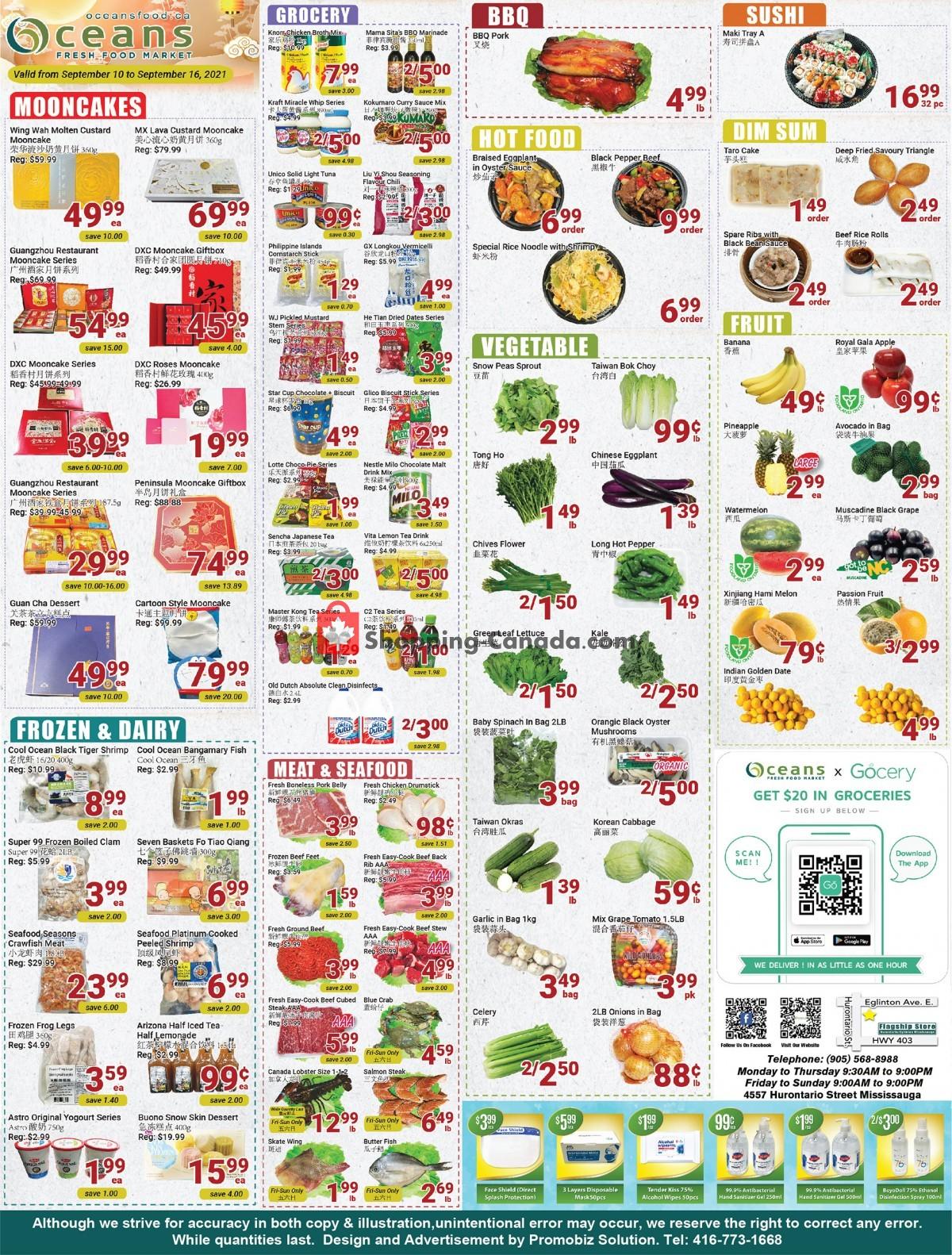 Flyer Oceans Fresh Food Market Canada - from Friday September 10, 2021 to Thursday September 16, 2021