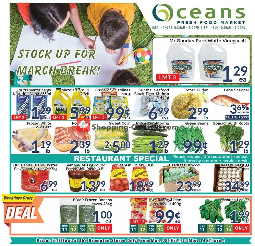 Flyer Oceans Fresh Food Market Canada - from Friday March 8, 2019 to Thursday March 14, 2019
