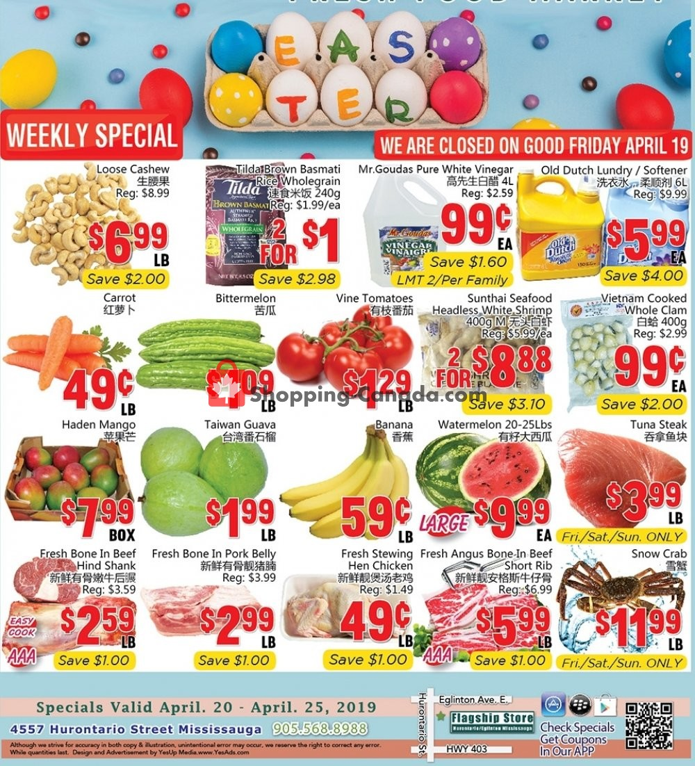 Flyer Oceans Fresh Food Market Canada - from Saturday April 20, 2019 to Thursday April 25, 2019