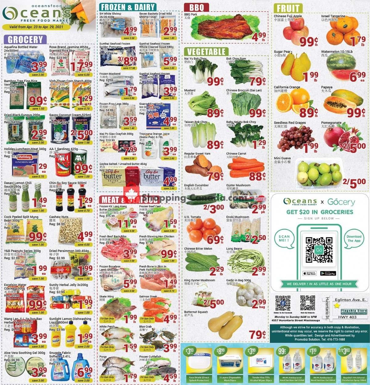 Flyer Oceans Fresh Food Market Canada - from Friday April 23, 2021 to Thursday April 29, 2021