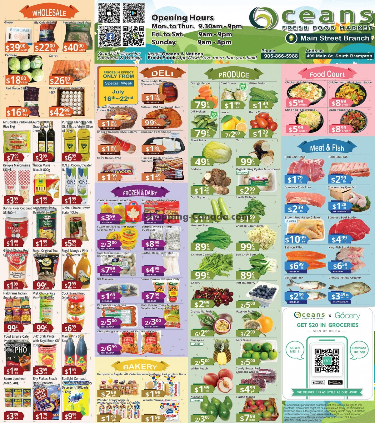 Flyer Oceans Fresh Food Market Canada - from Friday July 16, 2021 to Thursday July 22, 2021
