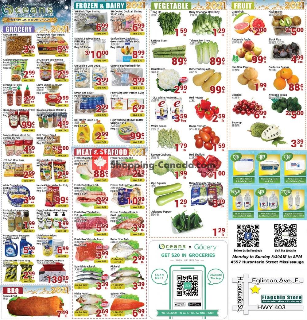 Flyer Oceans Fresh Food Market Canada - from Friday January 15, 2021 to Thursday January 21, 2021