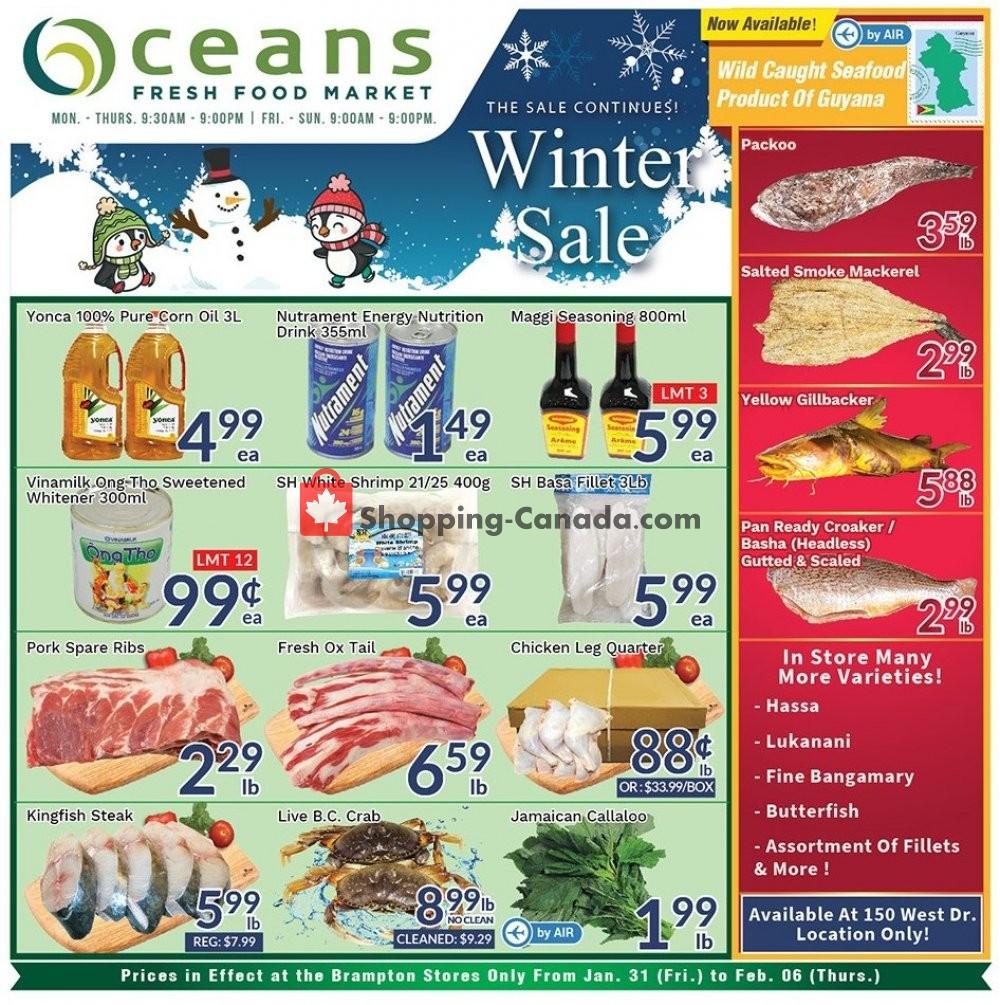 Flyer Oceans Fresh Food Market Canada - from Friday January 31, 2020 to Thursday February 6, 2020