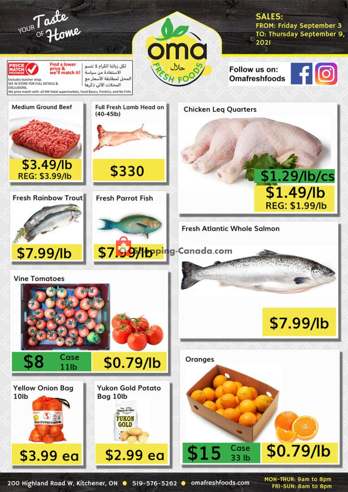 Flyer Oma fresh foods Canada - from Friday September 3, 2021 to Thursday September 9, 2021