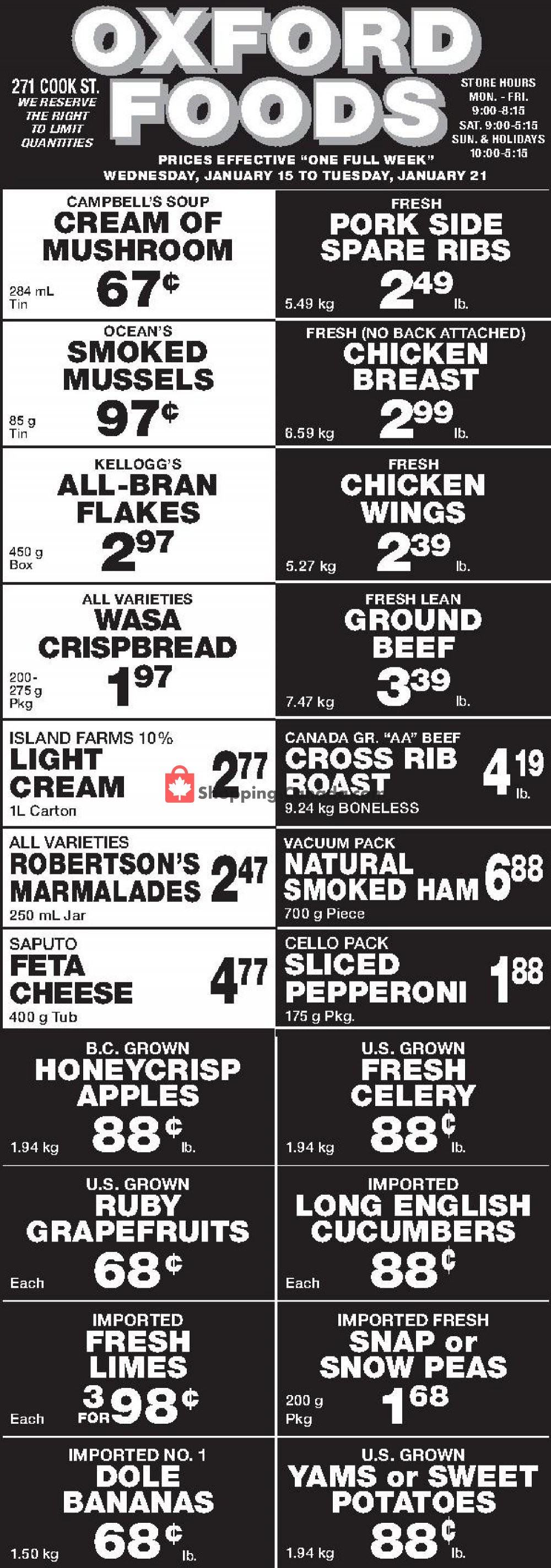 Flyer Oxford Foods Canada - from Wednesday January 15, 2020 to Tuesday January 21, 2020