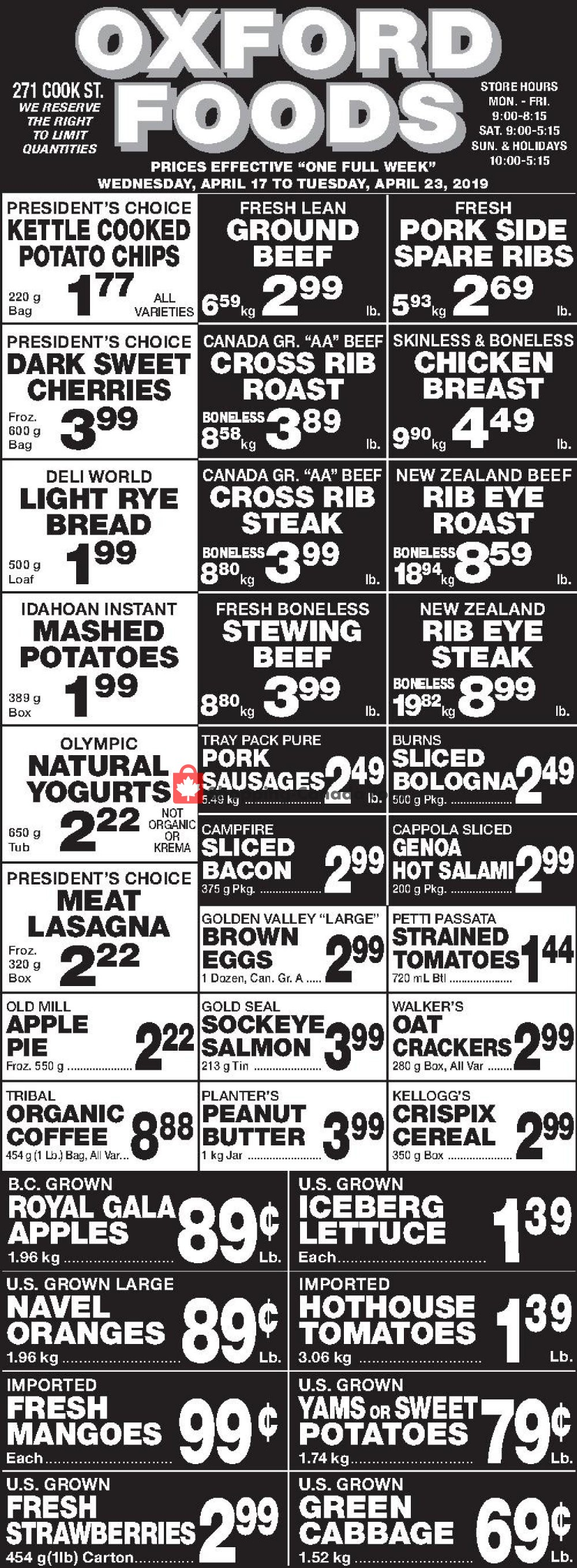 Flyer Oxford Foods Canada - from Wednesday April 17, 2019 to Tuesday April 23, 2019