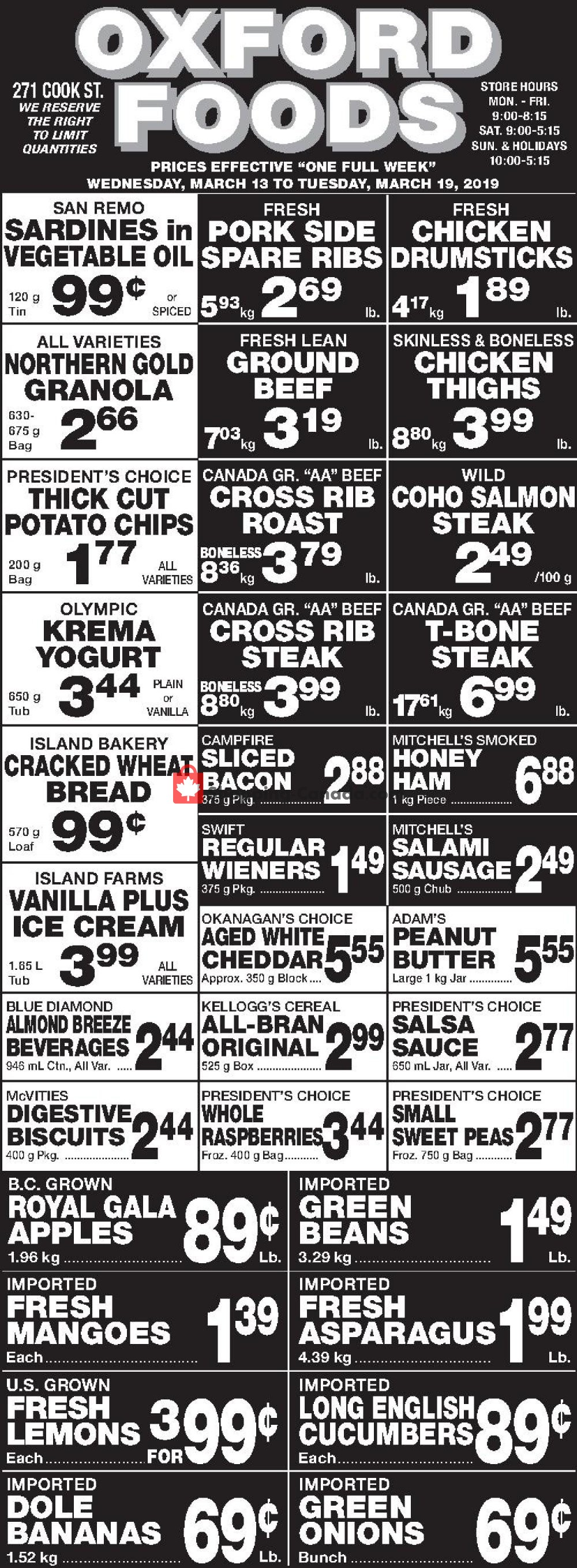 Flyer Oxford Foods Canada - from Wednesday March 13, 2019 to Tuesday March 19, 2019