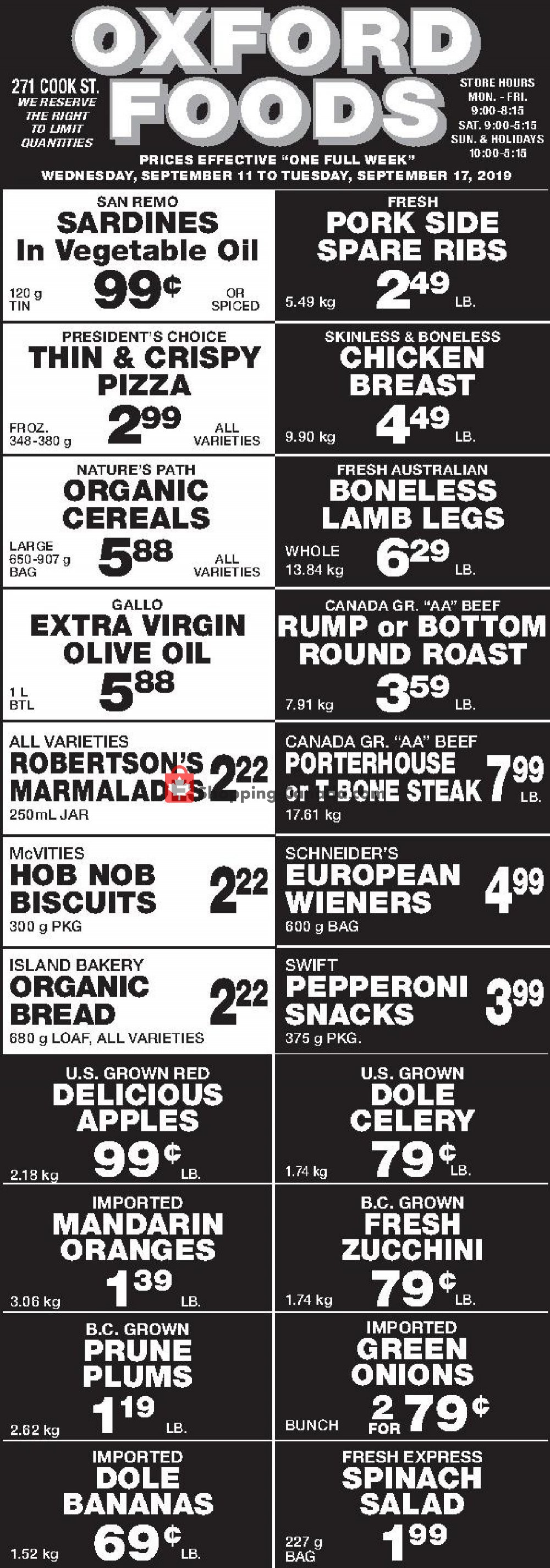 Flyer Oxford Foods Canada - from Wednesday September 11, 2019 to Tuesday September 17, 2019