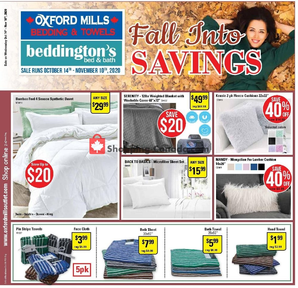Flyer Oxford Mills Bedding & Towels Canada - from Wednesday October 14, 2020 to Tuesday November 10, 2020