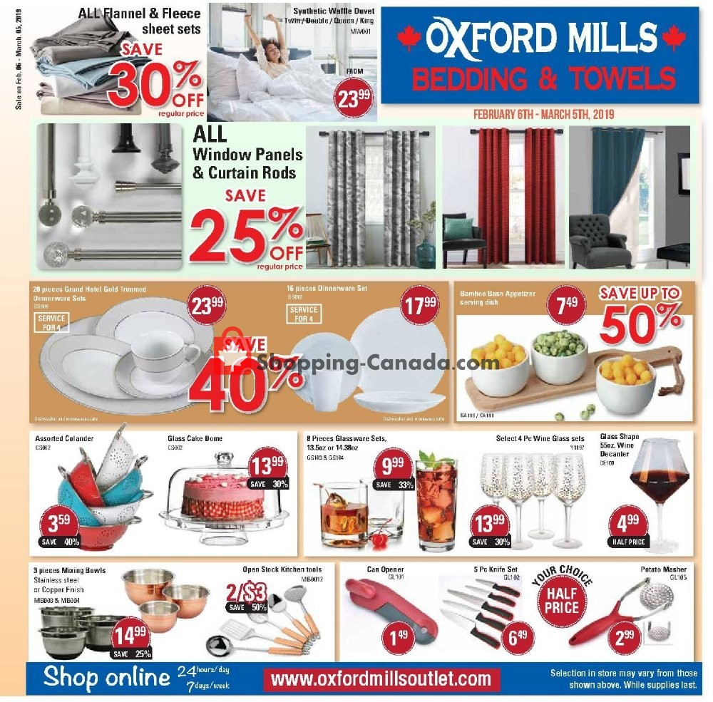 Flyer Oxford Mills Bedding & Towels Canada - from Wednesday February 6, 2019 to Tuesday March 5, 2019