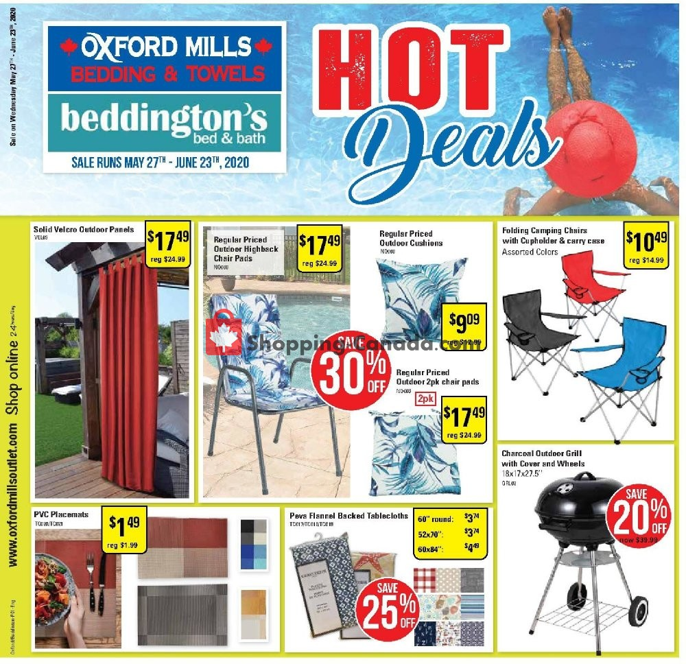Flyer Oxford Mills Bedding & Towels Canada - from Wednesday May 27, 2020 to Tuesday June 23, 2020