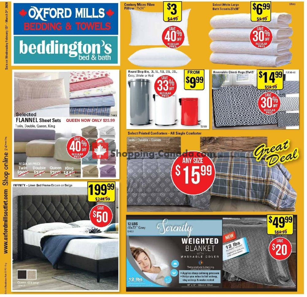 Flyer Oxford Mills Bedding & Towels Canada - from Thursday February 13, 2020 to Tuesday March 3, 2020