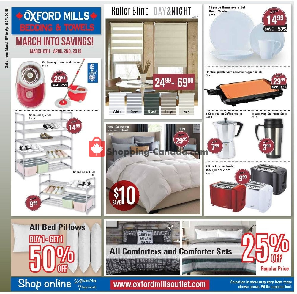 Flyer Oxford Mills Bedding & Towels Canada - from Wednesday March 6, 2019 to Tuesday April 2, 2019