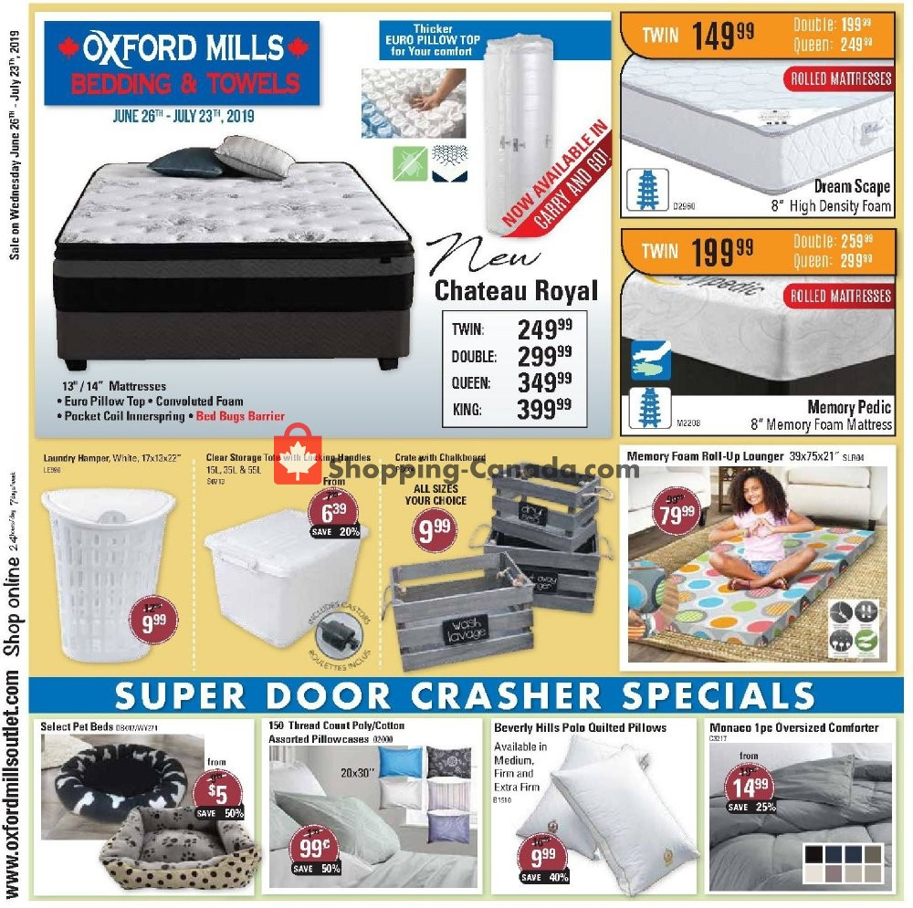 Flyer Oxford Mills Bedding & Towels Canada - from Wednesday June 26, 2019 to Tuesday July 23, 2019