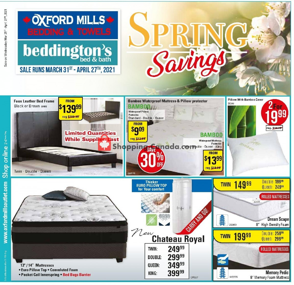 Flyer Oxford Mills Bedding & Towels Canada - from Wednesday March 31, 2021 to Tuesday April 27, 2021