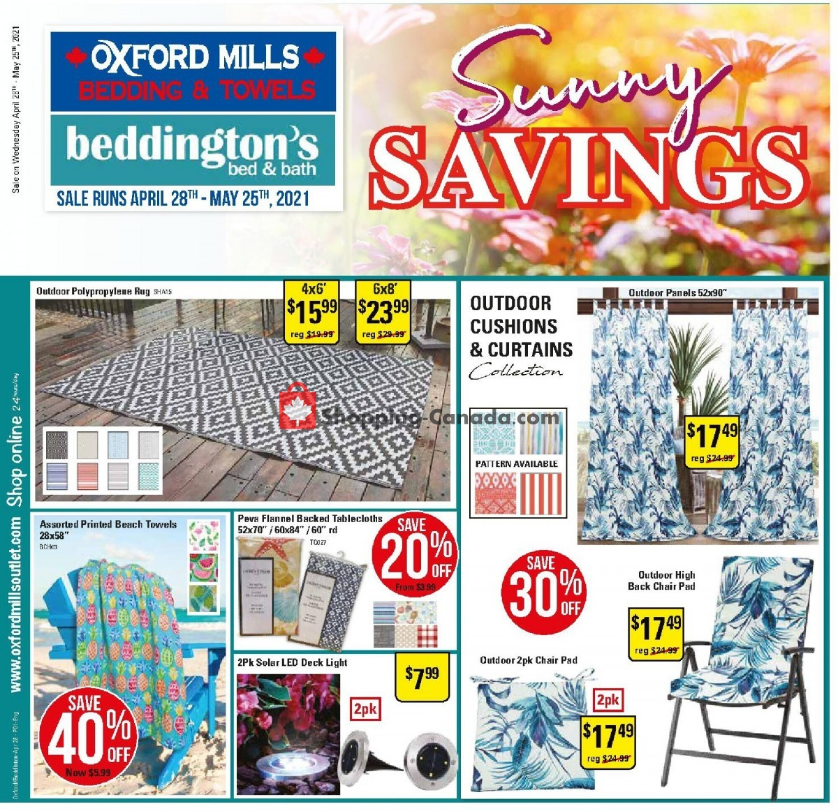 Flyer Oxford Mills Bedding & Towels Canada - from Wednesday April 28, 2021 to Tuesday May 25, 2021