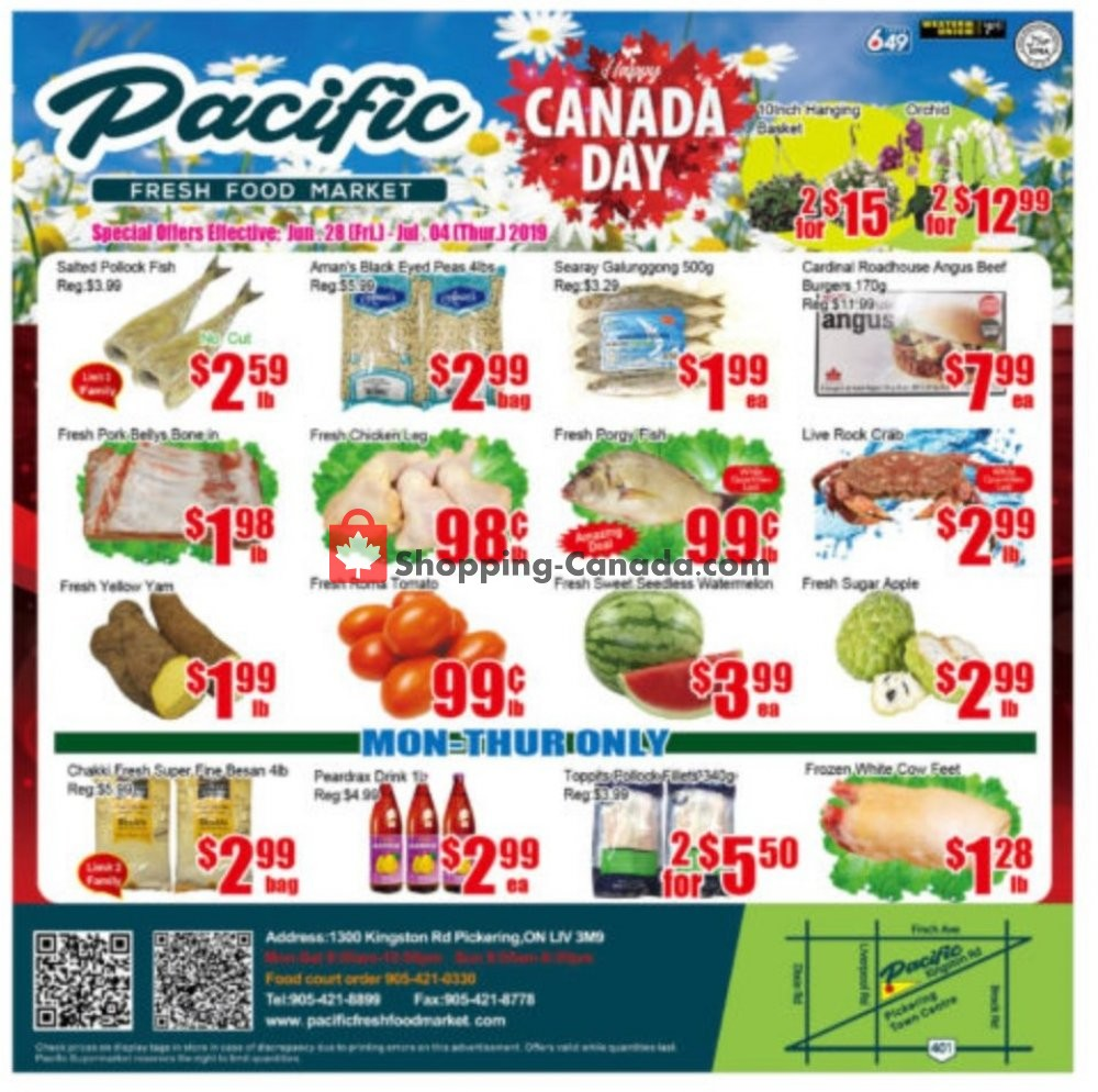 Flyer Pacific Fresh Food Market Canada - from Friday June 28, 2019 to Thursday July 4, 2019
