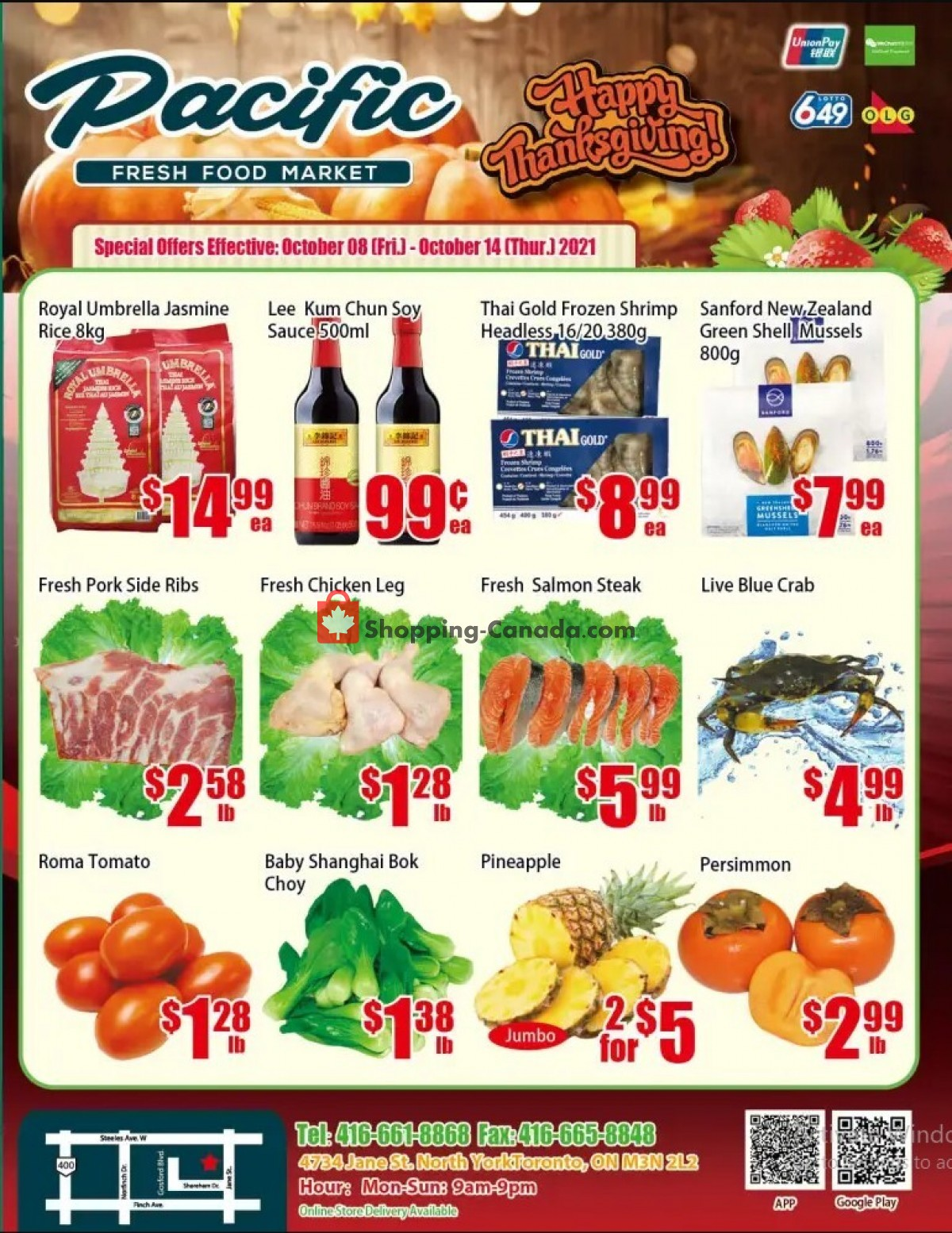 Flyer Pacific Fresh Food Market Canada - from Friday October 8, 2021 to Thursday October 14, 2021