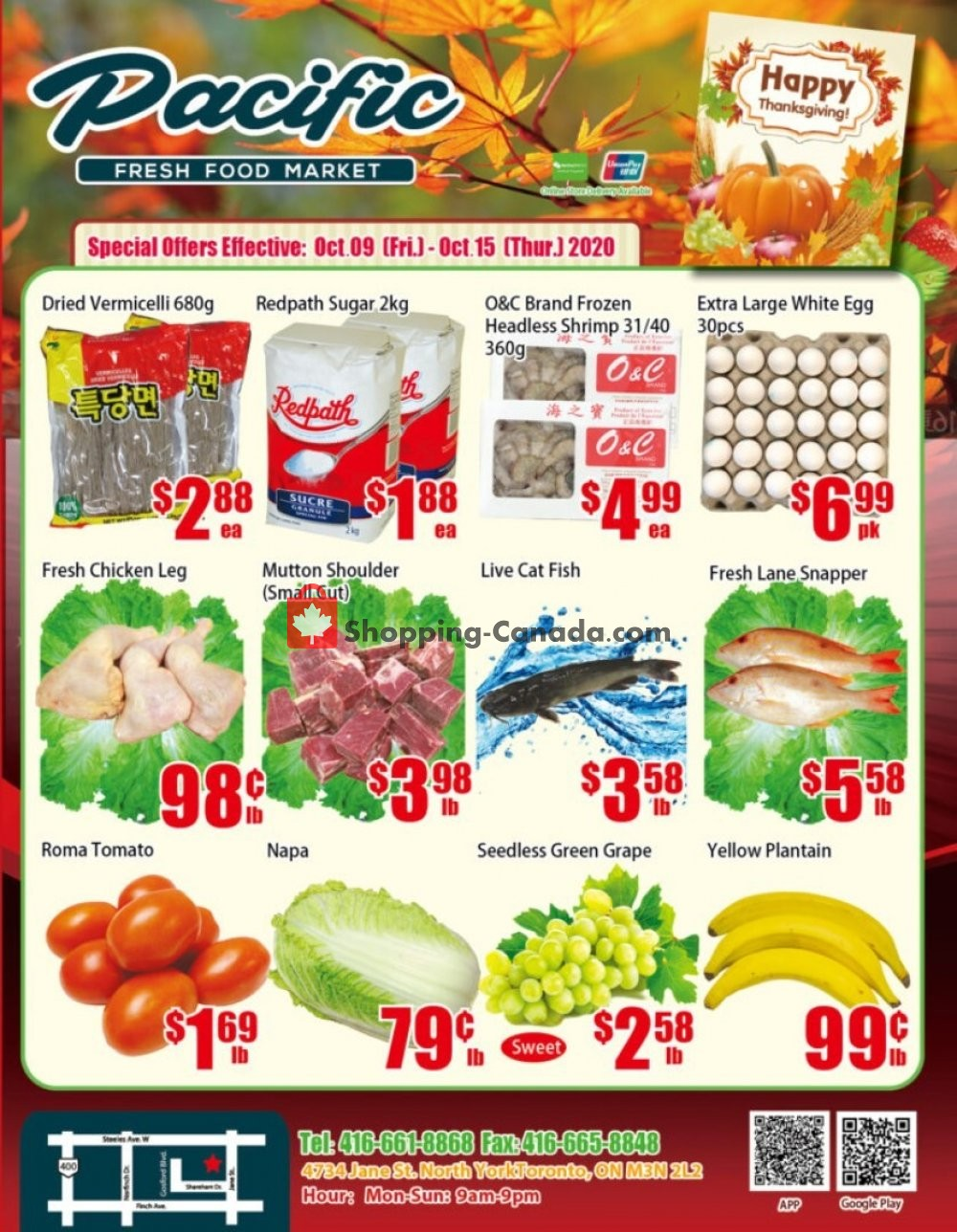 Flyer Pacific Fresh Food Market Canada - from Friday October 9, 2020 to Thursday October 15, 2020
