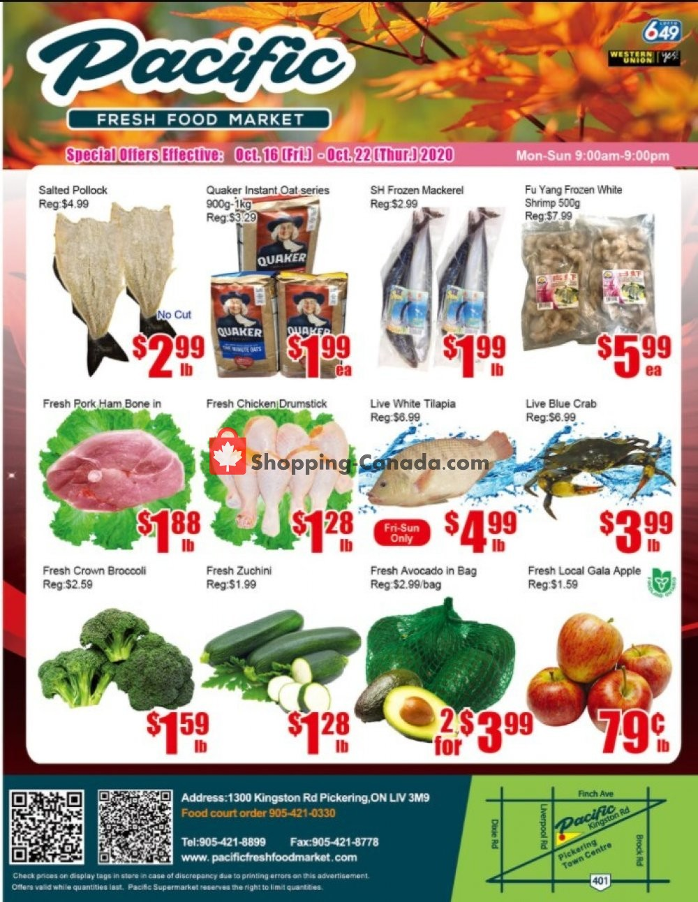 Flyer Pacific Fresh Food Market Canada - from Friday October 16, 2020 to Thursday October 22, 2020