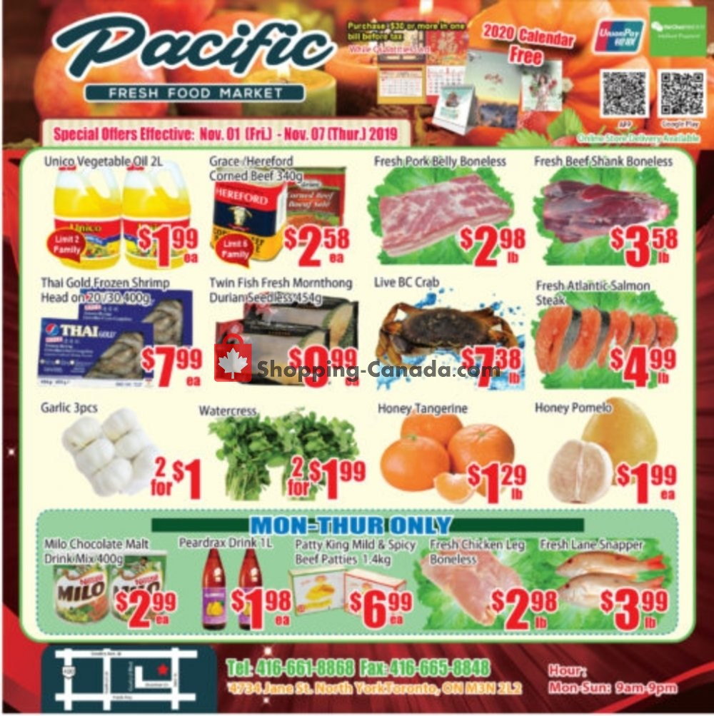 Flyer Pacific Fresh Food Market Canada - from Friday November 1, 2019 to Thursday November 7, 2019