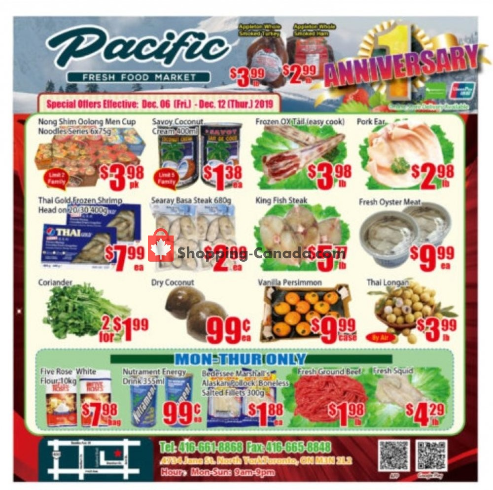 Flyer Pacific Fresh Food Market Canada - from Friday December 6, 2019 to Thursday December 12, 2019