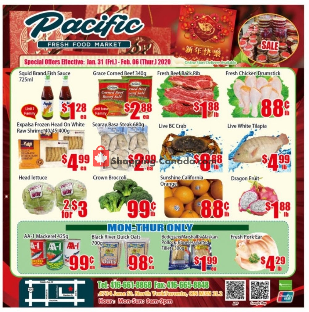 Flyer Pacific Fresh Food Market Canada - from Friday January 31, 2020 to Thursday February 6, 2020