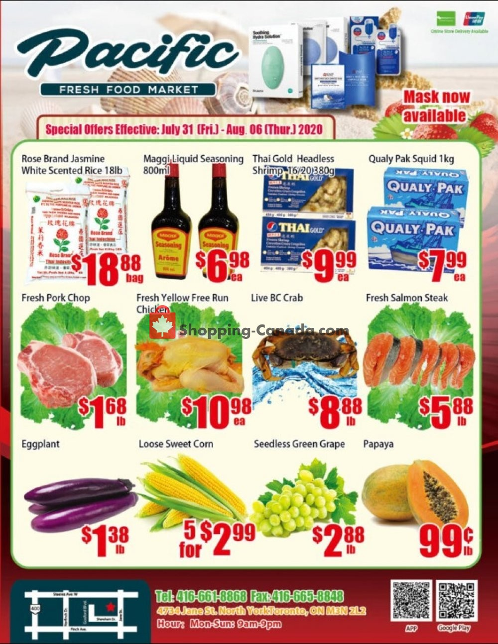 Flyer Pacific Fresh Food Market Canada - from Friday July 31, 2020 to Thursday August 6, 2020