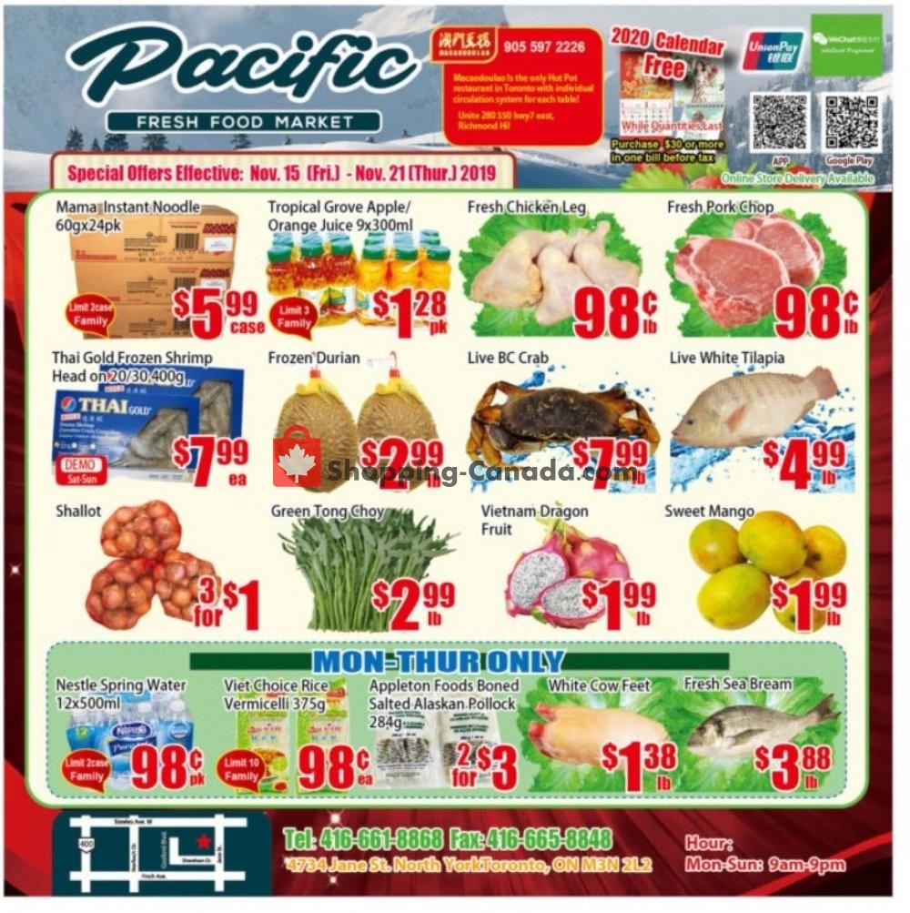 Flyer Pacific Fresh Food Market Canada - from Friday November 15, 2019 to Thursday November 21, 2019