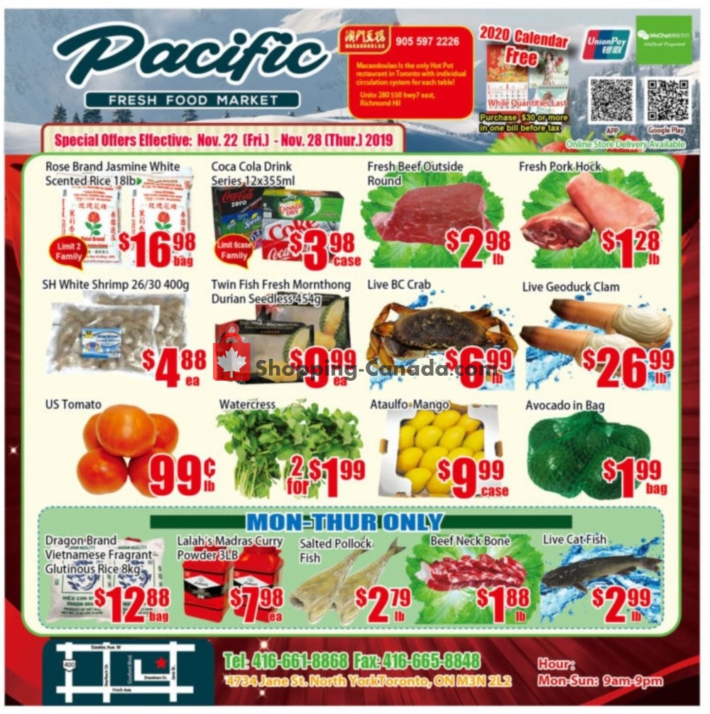 Flyer Pacific Fresh Food Market Canada - from Friday November 22, 2019 to Thursday November 28, 2019