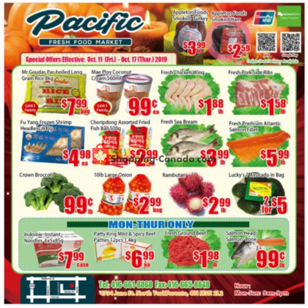 Flyer Pacific Fresh Food Market Canada - from Friday October 11, 2019 to Thursday October 17, 2019