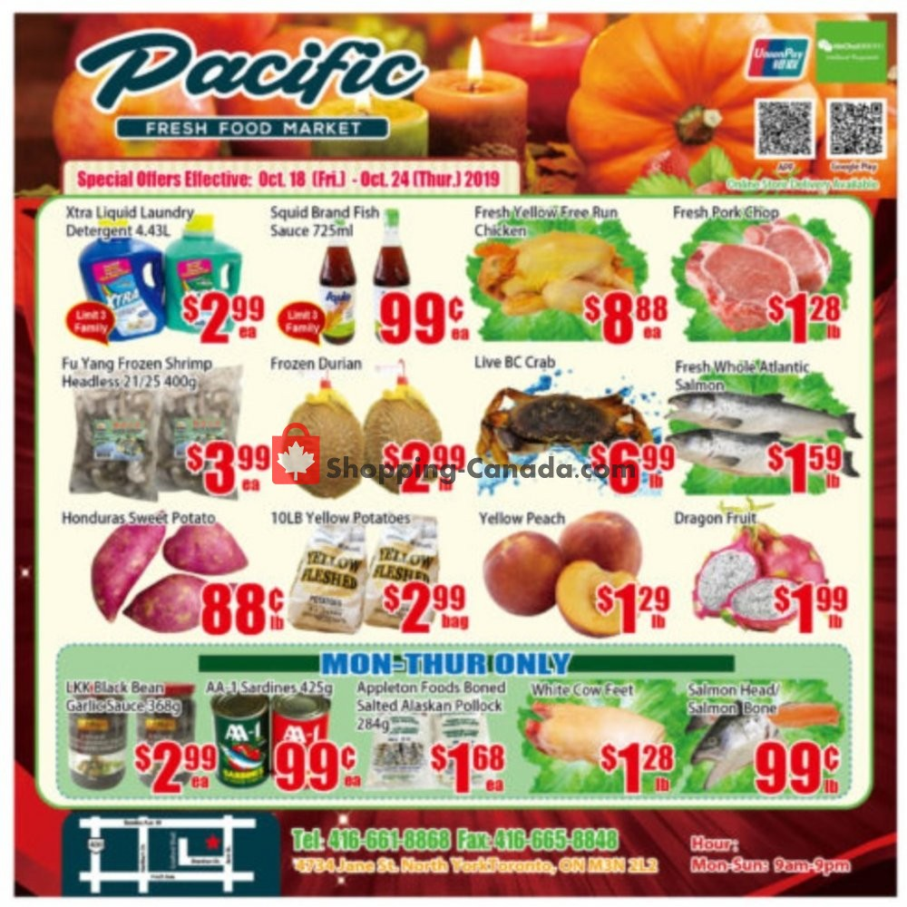 Flyer Pacific Fresh Food Market Canada - from Friday October 18, 2019 to Thursday October 24, 2019