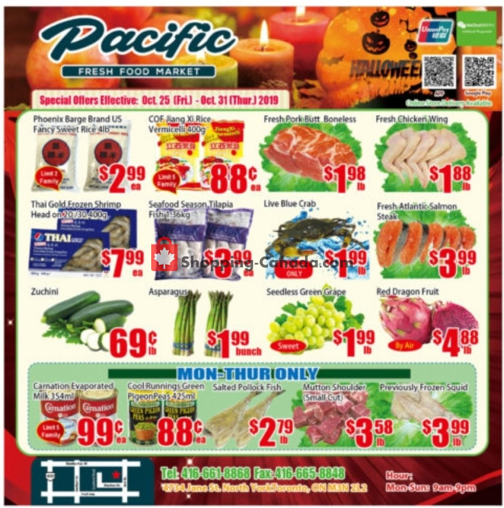 Flyer Pacific Fresh Food Market Canada - from Friday October 25, 2019 to Thursday October 31, 2019