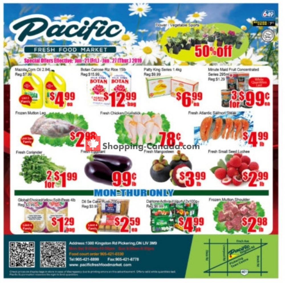 Flyer Pacific Fresh Food Market Canada - from Friday June 21, 2019 to Thursday June 27, 2019