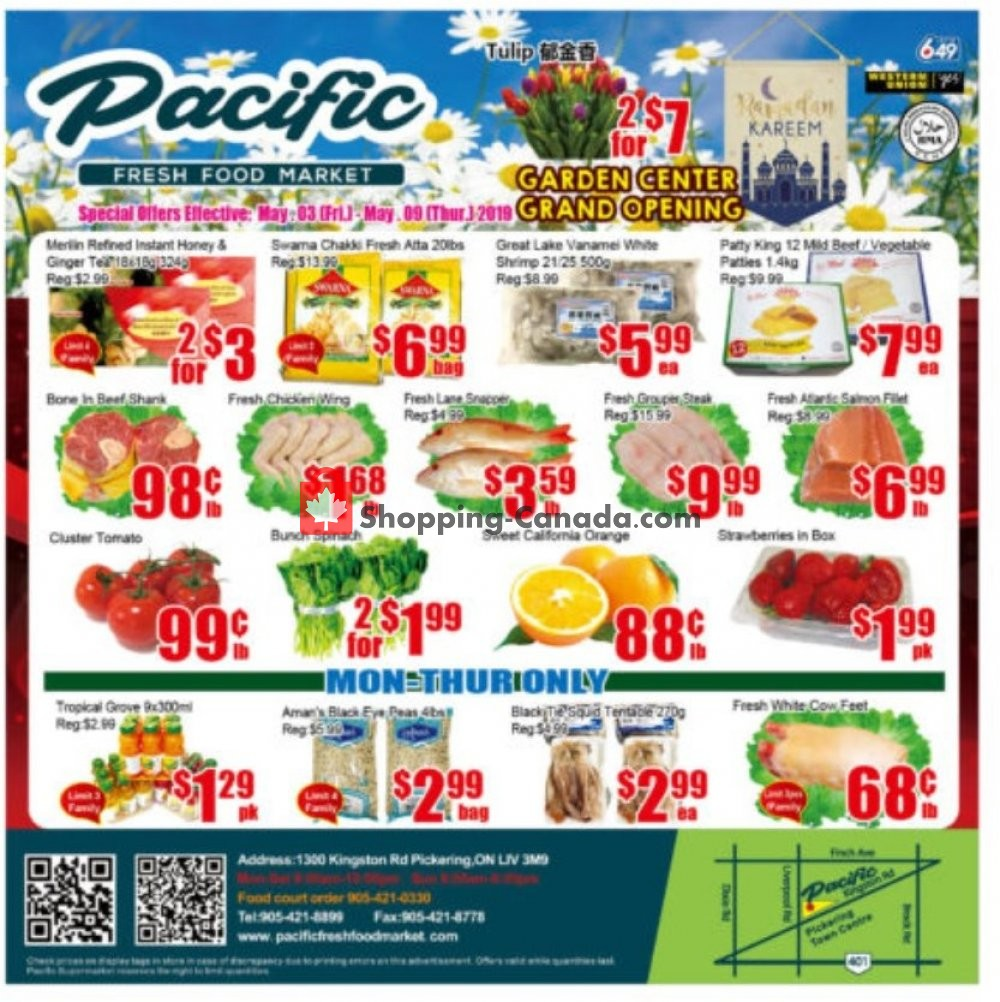Flyer Pacific Fresh Food Market Canada - from Friday May 3, 2019 to Thursday May 9, 2019
