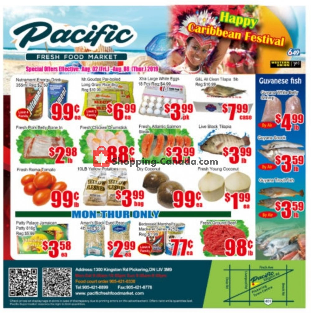 Flyer Pacific Fresh Food Market Canada - from Friday August 2, 2019 to Thursday August 8, 2019