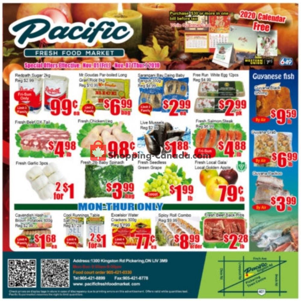 Flyer Pacific Fresh Food Market Canada - from Friday November 1, 2019 to Thursday November 7, 2019