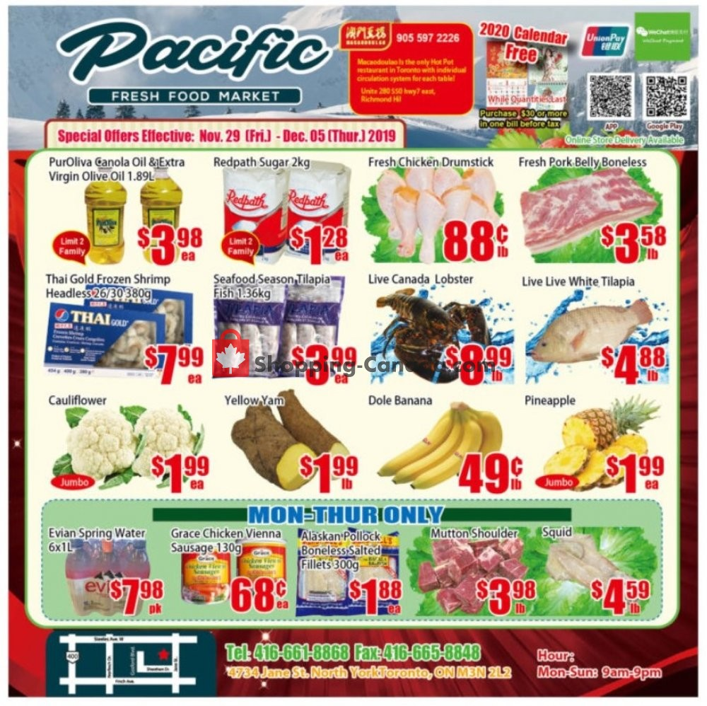 Flyer Pacific Fresh Food Market Canada - from Friday November 29, 2019 to Thursday December 5, 2019