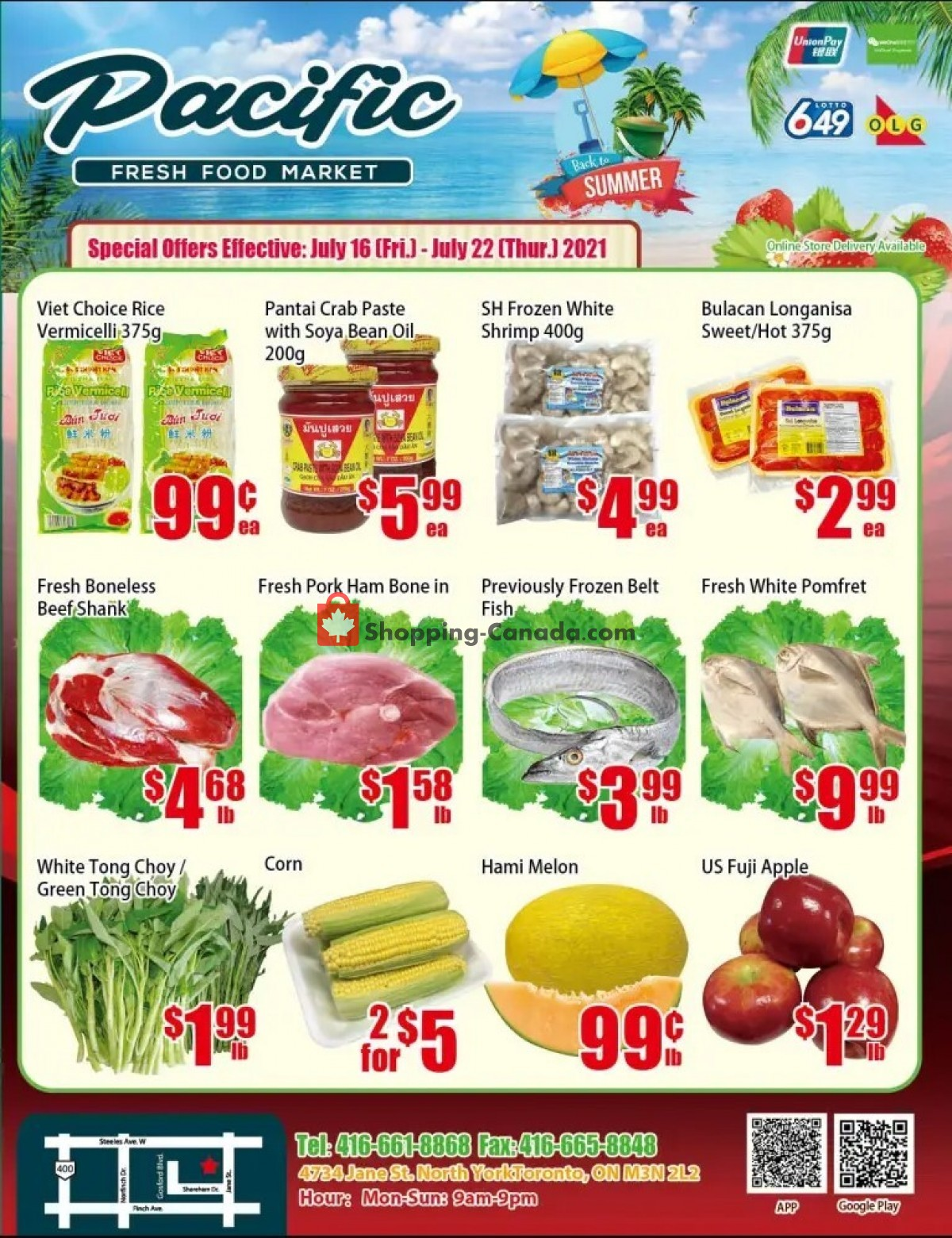 Flyer Pacific Fresh Food Market Canada - from Friday July 16, 2021 to Thursday July 22, 2021