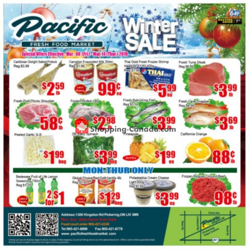 Flyer Pacific Fresh Food Market Canada - from Friday March 8, 2019 to Thursday March 14, 2019