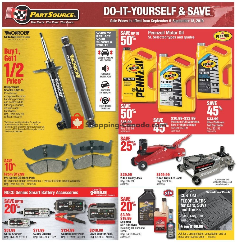 Flyer PartSource Canada - from Friday September 6, 2019 to Wednesday September 18, 2019