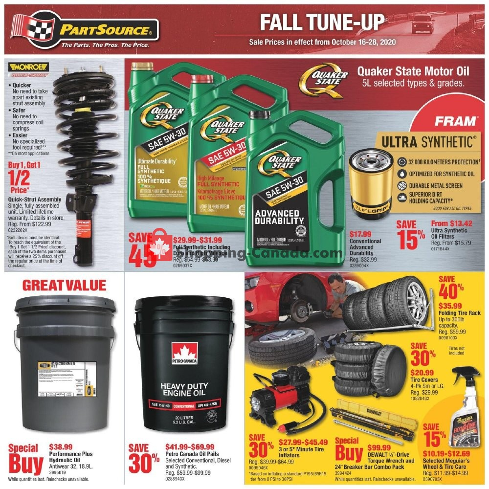 Flyer PartSource Canada - from Friday October 16, 2020 to Wednesday October 28, 2020