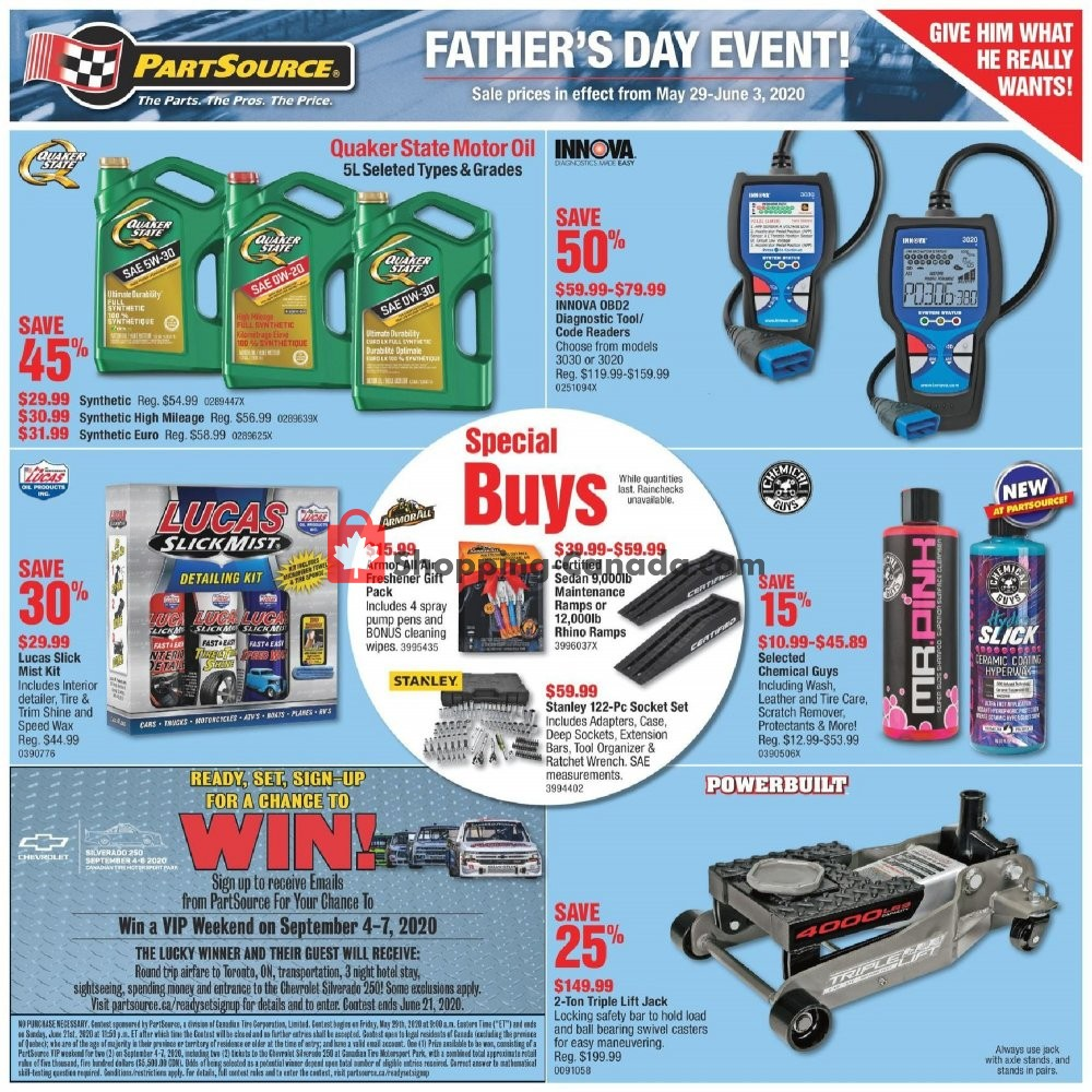 Flyer PartSource Canada - from Friday May 29, 2020 to Wednesday June 3, 2020