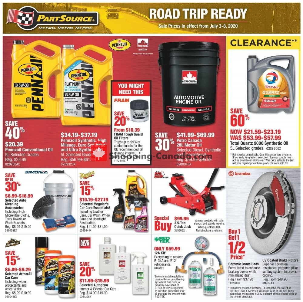 Flyer PartSource Canada - from Friday July 3, 2020 to Wednesday July 8, 2020